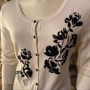 White House Black Market Sweaters - White House Black Market Beaded Cardigan Size L
